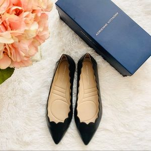 🌸 Adrienne Vittadini Leather Scalloped Flats 9